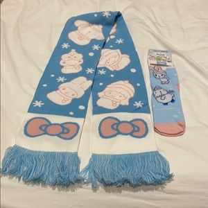 Sanrio Lootcrate scarf & socks. Brand NEW